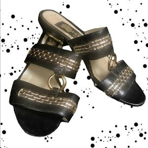 •👡🏺 60s Metallic Accent Mexican Strap Sandals